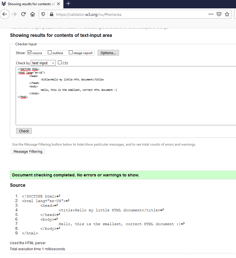 The smalles valid HTML document