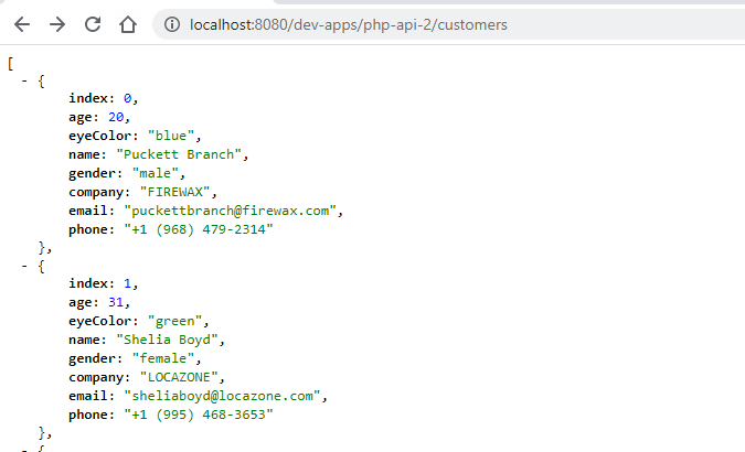 simple REST API in PHP