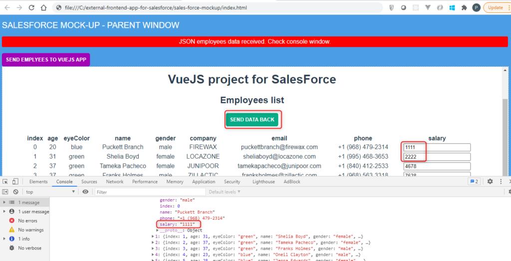SalesForce mockup development environment